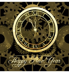 Happy New Year background with gold clock vector image