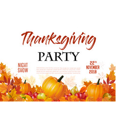 happy thanksgiving party flyer with colorful vector image