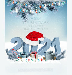 holiday christmas background with santa hat vector image