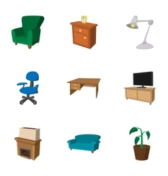 Home furnishings icons set cartoon style vector