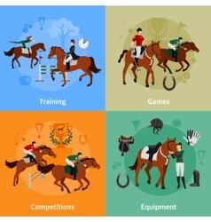 Horse rising sport 2x2 design concept vector