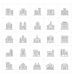 icon set - building thin line high detail vector image