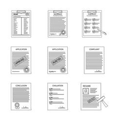 Isolated object of form and document symbol set vector