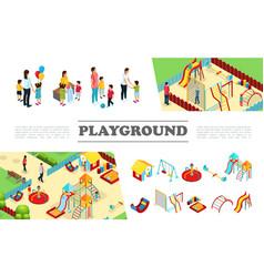 Isometric kids playground elements collection vector