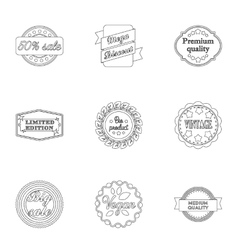 Label set icons in outline style Big collection vector image