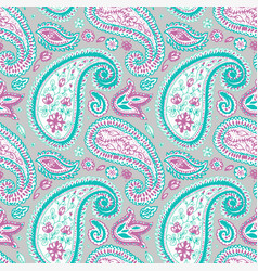 Light paisley seamless pattern with floral motifs vector