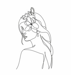 Line art woman with flowers head flowers vector