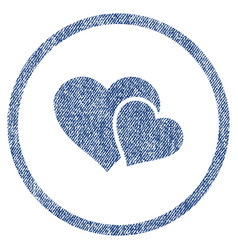 love hearts rounded fabric textured icon vector image