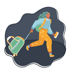 lovely girl running with suitcase vector image