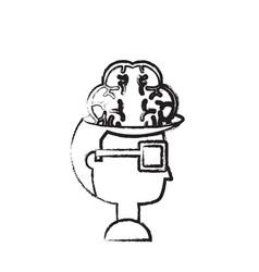 man head and brain icon vector image