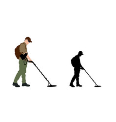 Man using metal detector with backpack vector