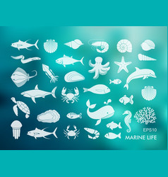 Marine life icons silhouettes sea inhabitants vector