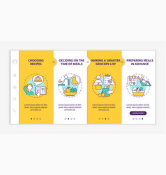 Meal planning basics onboarding template vector