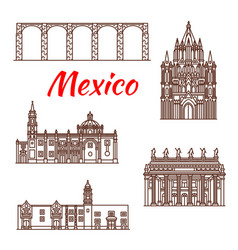 mexican architecture travel landmark linear icon vector image