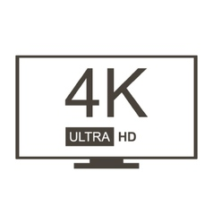Monochrome 4K Ultra HD TV icon vector