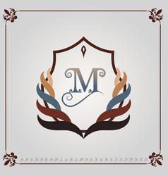 monogram luxury with decorative frame vector image