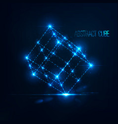 Neon cube in with lens flare and glowing particles vector