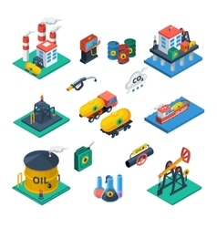 Oil Industry Isometric Icons Set vector