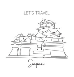one continuous line drawing himeji castle vector image