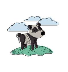 panda cartoon in outdoor scene with clouds in vector image