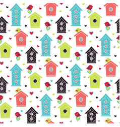 pattern with birdhouses and birds vector image