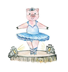 Pig ballerina on the stage drawn in watercolour vector