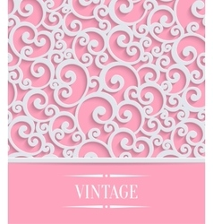 pink 3d vintage invitation card with floral vector image