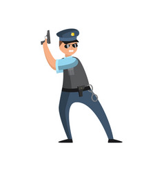 policeman in blue uniform with a police badge in a vector image