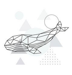 polygonal whale geometric marine animal poster vector image