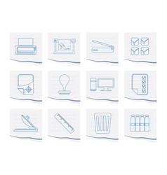 print industry icons on a piece of paper vector image