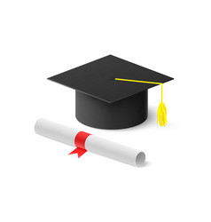 realistic graduation hat and rolled diploma with vector image