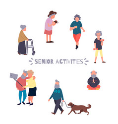 Recreation and leisure senior activities concept vector