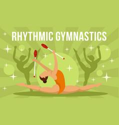 Rhythmic gymnastics girl concept banner flat vector