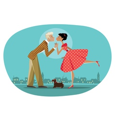Romantic retro couple kissing vector