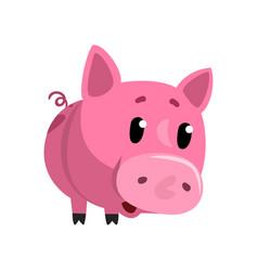 Sad pink cartoon baby piglet cute funny little vector