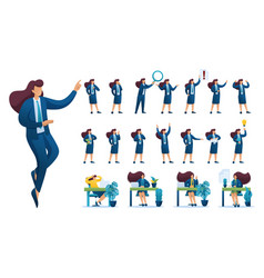 Set businesswoman presentation in various in vector