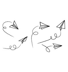 Set doodle paper plane icon hand drawn paper vector