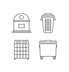set garbage bins for recycle waste vector image