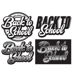 set monochrome with lettering vector image