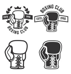 Set of boxing club emblems templates isolated vector