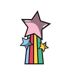 Shiny stars design with rainbow icon vector