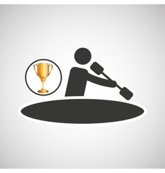silhouette man canoe rowing athlete trophy vector image