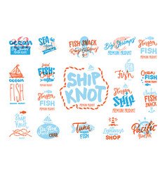 sketch seafood premium logotypes set vector image