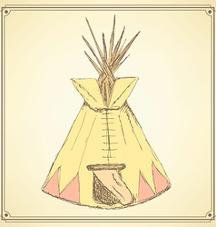 Sketch teepee house in vintage style vector image