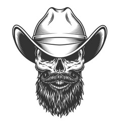 skull in the cowboy hat vector image