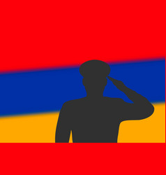 Solder silhouette on blur background with armenia vector