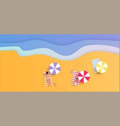 summer beach with women in bikini waves umbrellas vector image