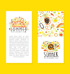 summer card templates set poster invitation vector image