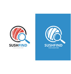 sushi and loupe logo combination japanese vector image