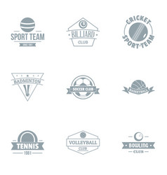 Tennis sport logo set simple style vector